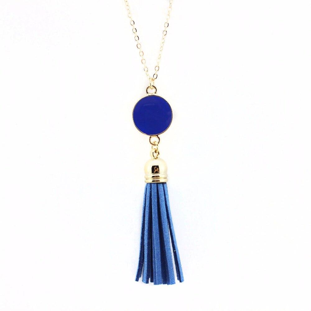 Monogram Enamel Disk kožna kićanka Long Kina privjesak ogrlica za - Modni nakit - Foto 4