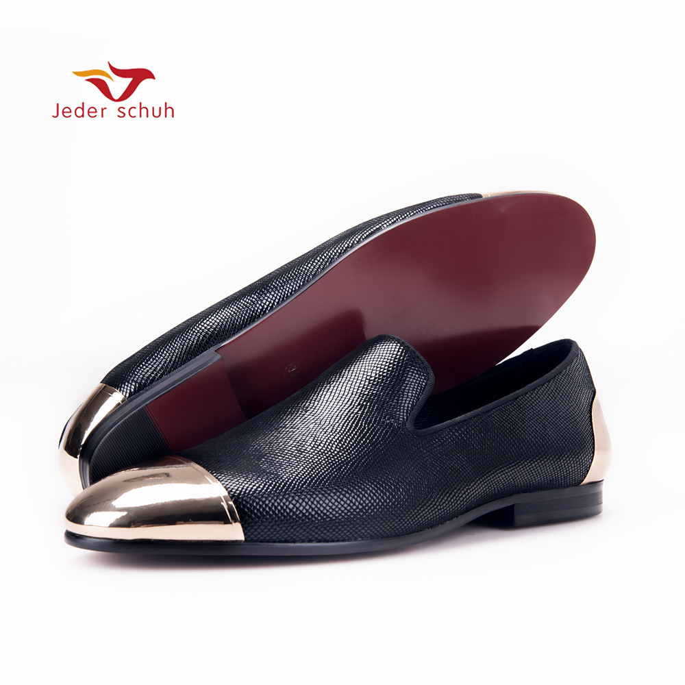 Jeder Schuh new style blue and red plaid sheepskin mens shoes with front and back metal toe Handmade Banquet and Prom men loafer