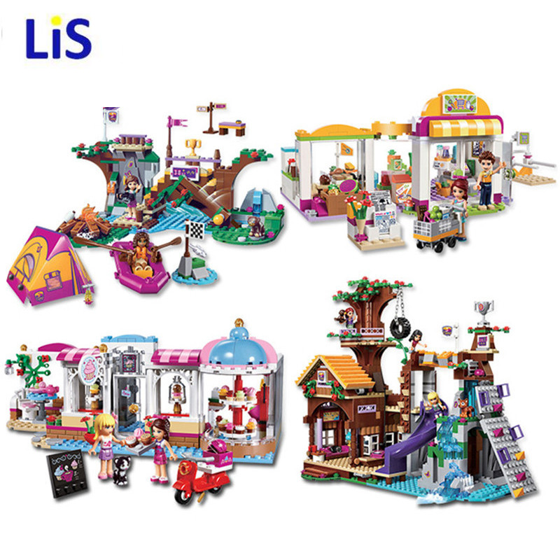 Lis <font><b>10497</b></font> 10496 10493 Girls Friends City Park Cafe tree house supermarket Playgroud Building Bricks Toys Compatible Legoingly image