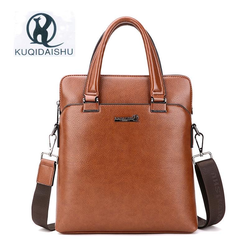 KUQIDAISHU marque 2017 nouveau sac d'affaires pour hommes en cuir PU sacs à bandoulière de mode masculine sac à main de luxe pour hommes sac à bandoulière
