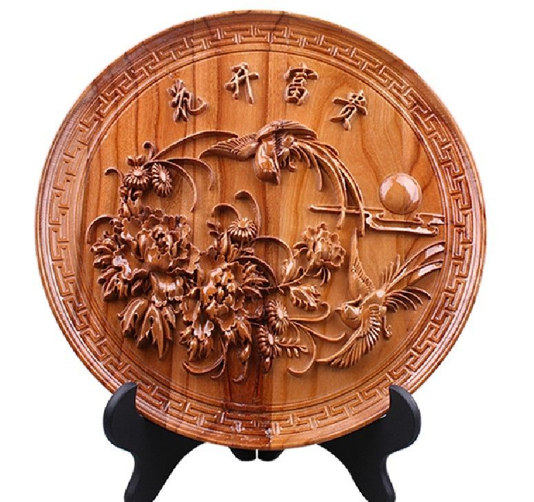 28cm China Peach Wood Carved Peony Bird Great Fortunes Flower Disc Sculpture