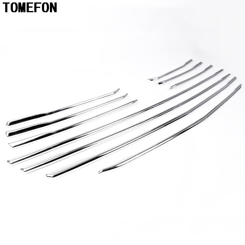 TOMEFON For Mazda CX3 CX-3 2015-2018 ABS Chrome Front Center Grill Trim Decoration Grille Middle Cover Exterior Styling 10PCS 1pc chrome abs head front center grill grille bumper trim cover for mazda 6 m6 atenza 2014 2015