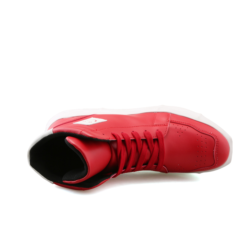 4d9896d59552e New Fashion High Top Casual Shoes For Men PU Leather Lace Up Red White  Black Color ...