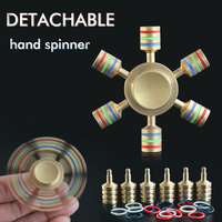 DIY Light In Dark Metal Tri Fidget Hand Spinner Toys Brass EDC For Autism ADHD Sensory