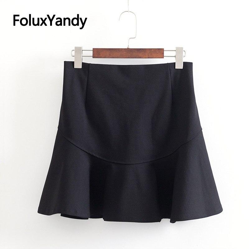 High Waist Shorts Skirts Women Plus Size 3 4 5 6 XL Casual Summer Slim Mini Ruffles Trumpet Skirts Black KKFY3288