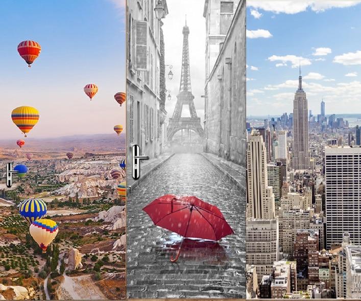 Нью Йорк Манхэттен Турция воздушный шар Эйфелева башня творческий DIY 3D двери наклейки для дверь детской комнаты украшения дома аксессуары-in Настенные наклейки from Дом и животные