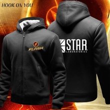 superhero The Flash Men star laboratories hoodies thicken fleece sweatshirt men comfortable cotton jacket hoody homme