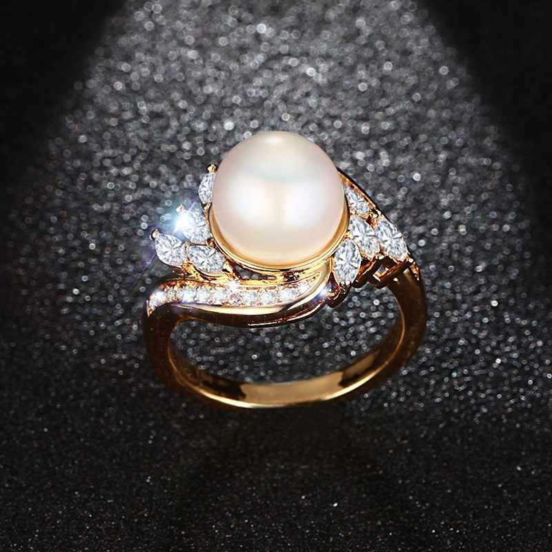Simulated Pearl Rings For Women Gold Color With AAA+ CZ stone Wedding Engagement Band Ring USA Size Dropsipping