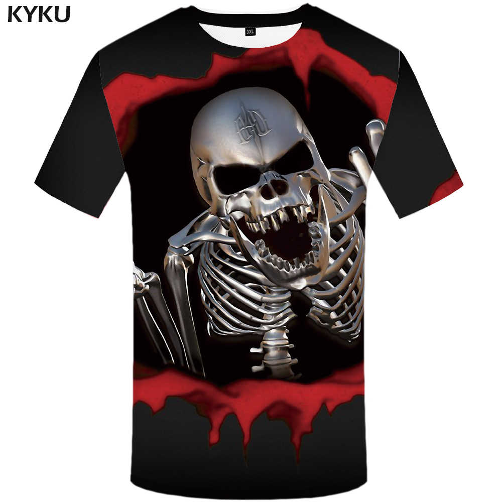 Мужская футболка с черепом KYKU, черная футболка с коротким рукавом, с 3D-принтом, в хип-хоп стиле, лето 2019