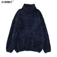 High Quality Autumn Winter Women S Port Chenille Velvet Wind Gold Velvet Neil Turtleneck Jumper Knitted