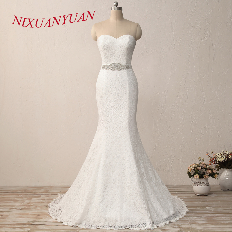 NIXUANYUAN New Elegant White Ivory Lace Bridal Gown Mermaid Wedding Dress 2019 Vintage Cheap vestido De noiva With Sash In Stock