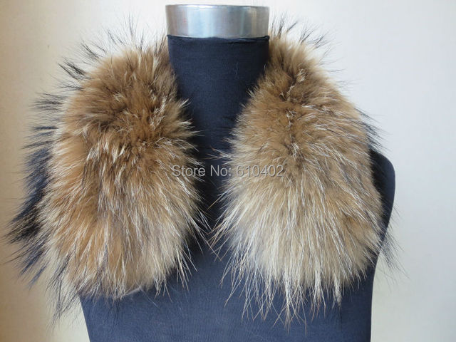free shipping/REAL feather jacket with raccoon dog  fur collar /scarf/(50cm*13cm)natural