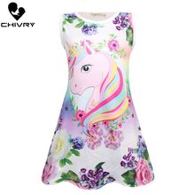 Chivry Summer 2019 New Little Girls Sleeveless A-line Princess Dress Baby Girls Kids Casual Unicorn Print Sundress Vestidos цена 2017