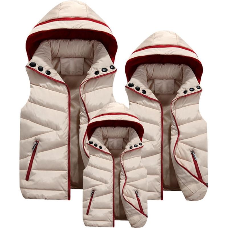 Family Matching Clothes Autumn Winter Big Boys Girls Vest Children Waistcoat Cotton Padded Jacket Hooded Vests For Boy TZ283 stylish hooded sleeveless zip up padded waistcoat for women