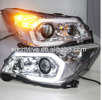 Right hand drive Chrome Housing LED Head Lights with Porjector Lens For Subaru Forester  PW right hand drive chrome housing led head lights with porjector lens for subaru forester pw