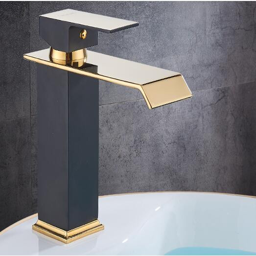 Square Basin Faucets Waterfall Bathroom Faucet Single handle Basin Mixer Tap Bath Antique Faucet Brass Sink Water Crane Gold