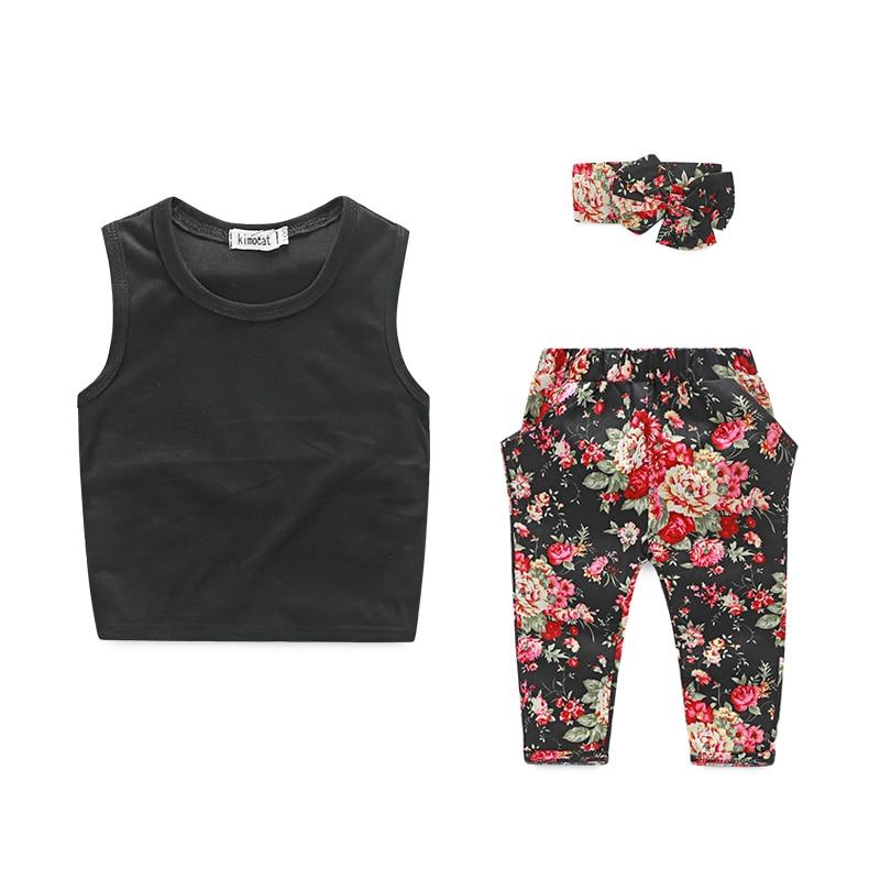 (3pcs/set) fashion girls clothes vest+flowers pants+ free headband ropa mujer street shot children clothing set