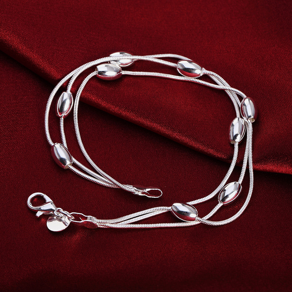 wholesale Charms beads Chain Beautiful bracelet silver plated fashion for women Wedding nice bracelet font b