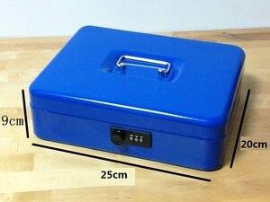 Image 3 - Cajas de seguridad de acero con llave y contraseña para guardar compartimento de almacenamiento, hucha de papel, pequeña, tarjeta de cambio, cajas de documentos con cerradura