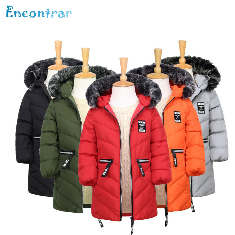 Encontrar Winter Fur Collar Hooded Thick Jackets for Children Girls Warm Windproof Clothes Boys Print Parkas Coats 4T-10T,DC289 buenos ninos thick winter children jackets girls boys coats hooded raccoon fur collar kids outerwear duck down padded snowsuit