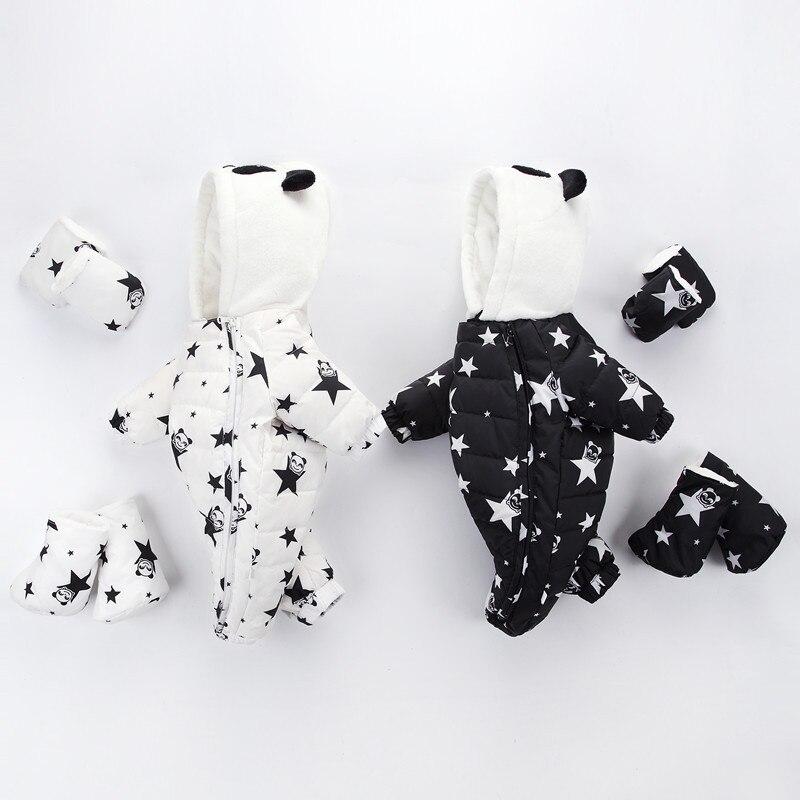 Hiver bébé garçon fille chapeau combinaison chaussures ensemble nouveau-né canard vers le bas velours vêtements Parkas barboteuses bébé vêtements Snowsuit Costume