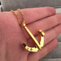 18K Gold Plated Anchor Pendant Necklace Link Chain Mens Jewery Hip Hop Gift Free Shipping