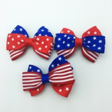 2 Pcs/lot  Plain Ribbon Pair 2-3 layers Hair Clips For Kids Mini 4th july Bows Barrettes Hairpins Accessories