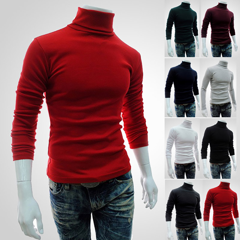 Men's Turtleneck Sweater 2018 New Autumn Winter Solid Color Casual Sweater Men's Slim Fit Knitted Pullovers Bottoming Jumper