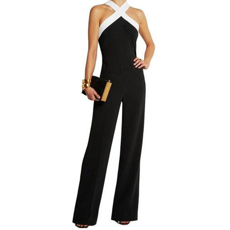 Leakage Shoulder Jumpsuit New Fashion Women Backless Matching Collect Waist Party Wide Leg Long Playsuits Plus