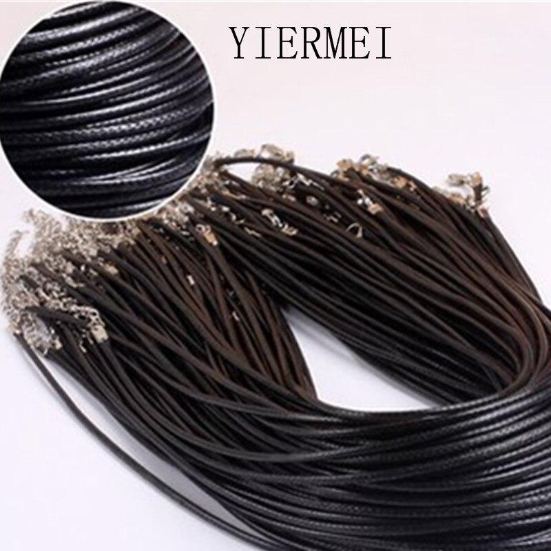 Скрученный Плетеный веревка 2 мм черный искусственная кожа ожерелье цепочка серебро застежка веревки для мужчин женщин gargantilha высокое каче...