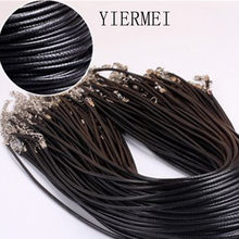 Twisted Braided Rope 2mm Black PU Leather Cord Chain Necklace Silver Clasp String Ropes Men Women gargantilha High Quality(China)
