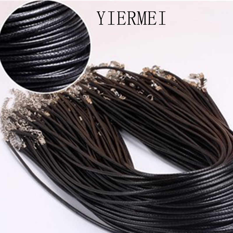 Twisted Braided Rope 2mm Black PU Leather Cord Chain Necklace Silver Clasp String Ropes Men Women gargantilha High Quality