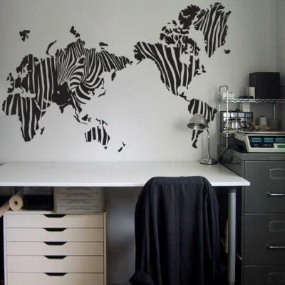 """""""Зебра"""" карта мира стены наклейки украшения дома карта стены таблички"""