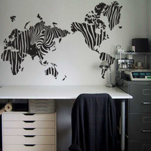 Free shipping Zebra print map of the world wall stickers Home decoration map wall decals