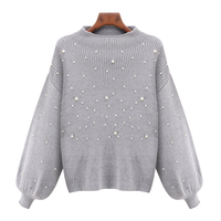 Pull Femme Hiver 2016 Sweater With Pearls Crew Neck Lantern Sleeve Womens Sweaters And Pullovers Plus