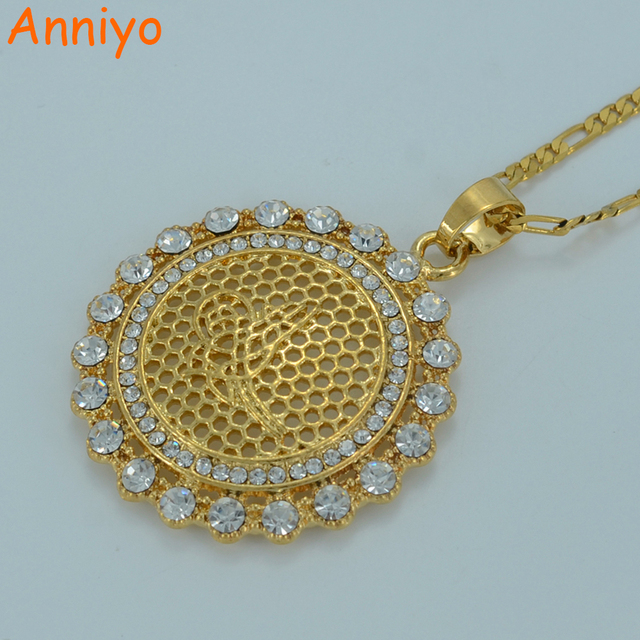 Anniyo New Turkey Coin Necklace for Women Gold Color Arabic Coins Jewelry Wholesale Turk Pendants With Rhinestone #018806