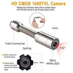 """Image 3 - SYANSPAN 20/50/100M inspekcja rur kamera wideo, 8GB TF karty DVR IP68 odpływ kanalizacji rurociągu przemysłowy endoskop z 9 """"Monitor"""