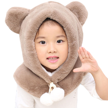 Winter Children Plush Hat with Hood Scarf Cute Bear Ear Warm Plus Velvet Kids Baby Hat Cap for Boys and Girls Thick Beanies Cap children autumn and winter warm clothes boys and girls thick cashmere sweaters
