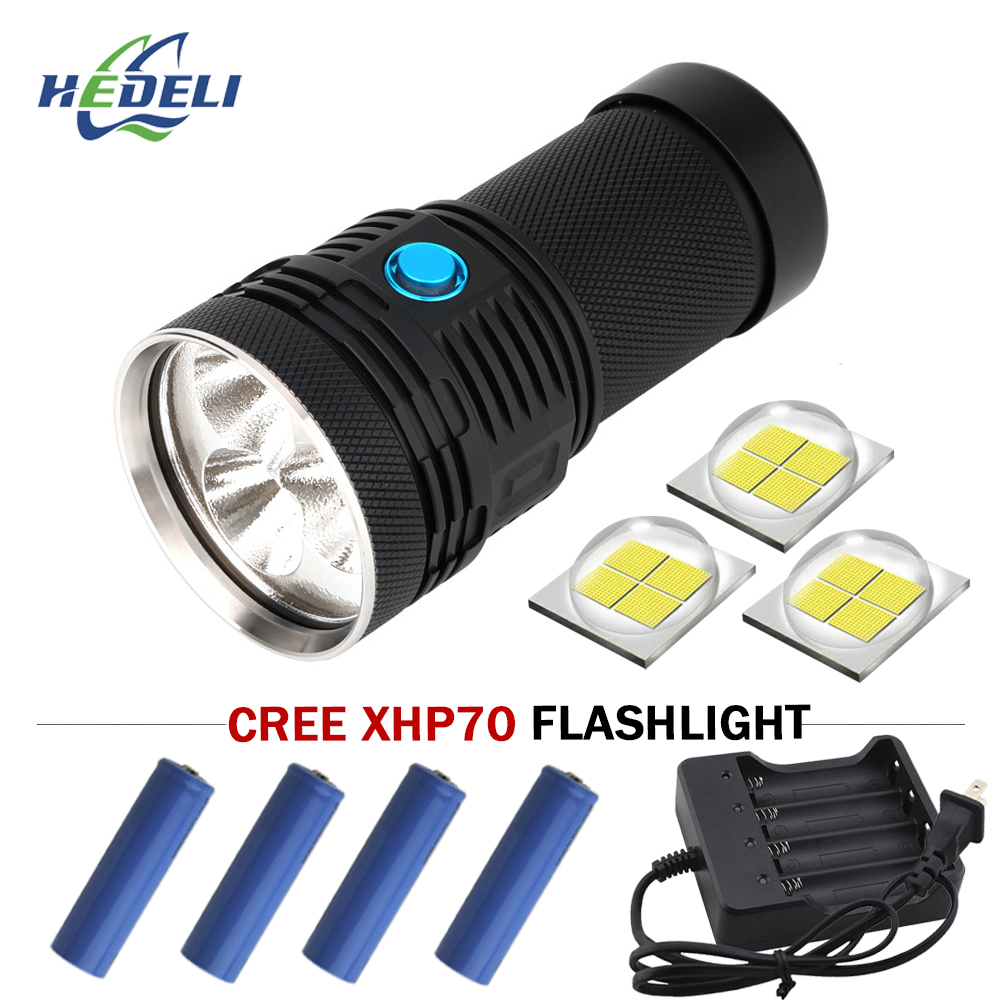 Rechargeable battery Super bright flashlight 3 CREE xhp70 led flash light waterproof torch Fill light flashlight 18650 linterna super bright flashlight 3 led xhp70 hand torch lamp professional waterproof 18650 battery flash light torch linterna tactica