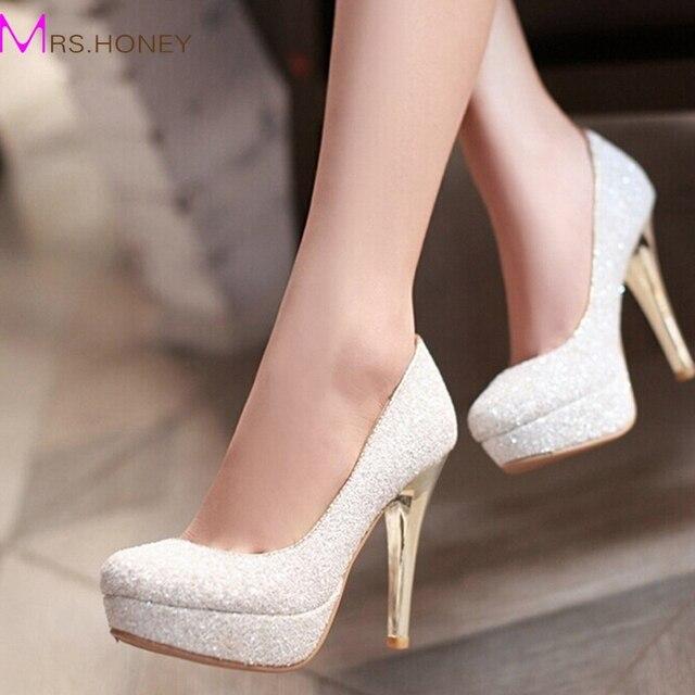 Блеск леди весна туфли на шпильках пятки платформы белое золото туфли игристое ночной клуб ну вечеринку выпускного вечера обувь