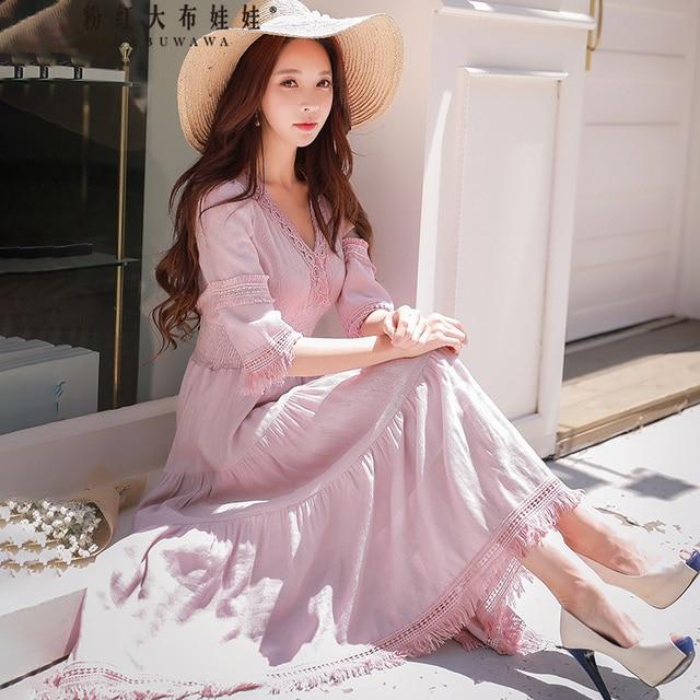 Dabuwawa New Women's Deep V-Neck Lace Dresses Ladies Elegant Summer Cupcake Print Maxi Dresses D18BDR293