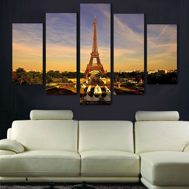 Modern home decor Eiffel Tower Wall Art Picture print Painting on Canvas for living room bedroom