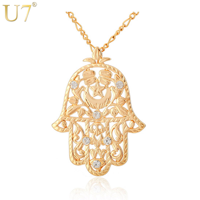 U7 Big Hamsa Hand Pendant Women/Men Lucky Jewelry Gift Trendy Gold Color Rhinestone Hand of Fatima Pendant Necklaces P313 pendant
