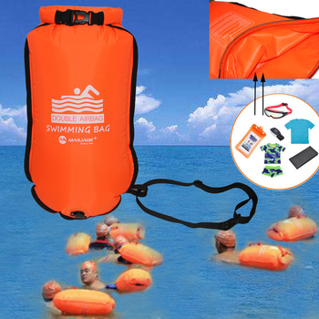20L Inflatable Open Swimming Buoy Tow Float Dry Bag Double Air Bag with Waist Belt for Swimming Water Sport Storage Safety bag