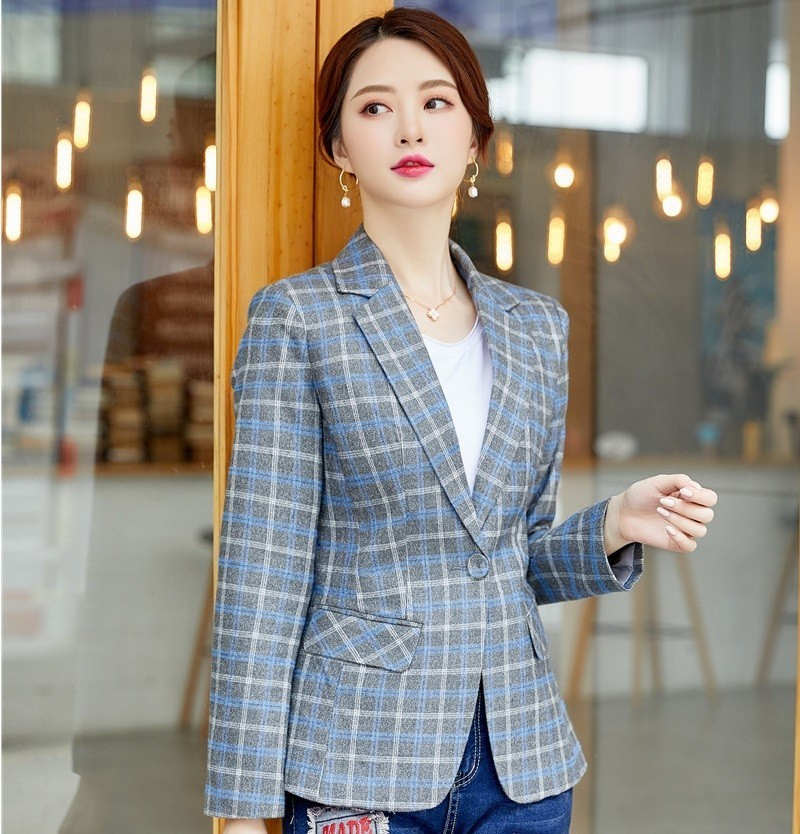 High Quality Fabric Fashion Plaid Women Business Blazers And Jackets Coat With Pocket Ladies Long Sleeve Blazer Tops Clothes