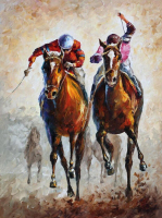 Professional Artist Hand painted Running Competing Horse Racing Oil Painting for Club Wall Decoration Special Sport Oil Painting