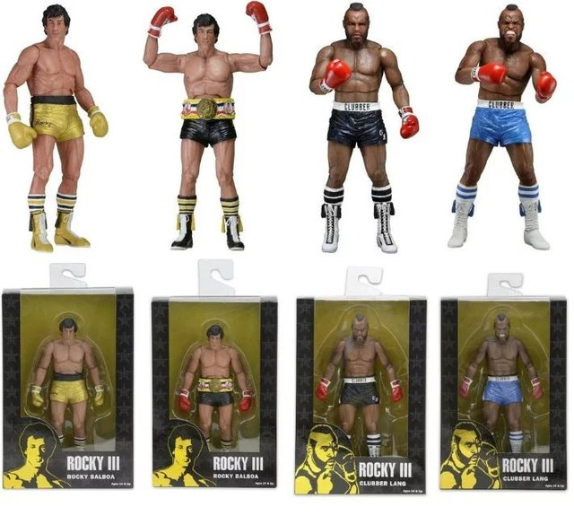 NECA BALBOA Rocky III CLUBBER LANG 40th Anniversary PVC Action Figure Collectible Modelo Toy 18 cm KT2624
