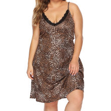 Plus Size XL-4XL Women's Sexy Sleepwear Leopard Nightgowns Summer Sleepwear leopard print V-neck Bodysuit Femme Home Nightwear(China)