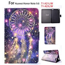 Para huawei mediapad t1 10 case del cuero del tirón para huawei honor nota 9.6 T1-A21W T1 10 T1-A21L T1-A23W/L Cubierta Pintada Tablet Funda