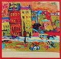 90 cm * 90 cm Envío Libre regalo Al Por Mayor 2016 Nuevo Satén de La Manera de Van Gogh pintura al óleo de Las Mujeres de Largo Bufanda de Seda del abrigo del Mantón de Playa